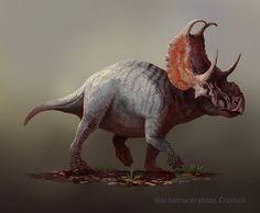 ewly discovered ceratopsian Machairoceratops Cronusi by Pierre Huot. Dinosaur Era, Dinosaur Images, Reptiles, Mammals, Historia Natural, Jurassic Park World, Extinct Animals, Prehistoric Creatures, Tyrannosaurus Rex
