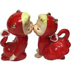 Vintage Kissing Devil Valentine Salt & Pepper Shakers.
