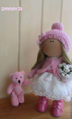 Купить Нежная малышка в розовом! - розовый, белый цвет, кукла ручной работы, текстильная кукла