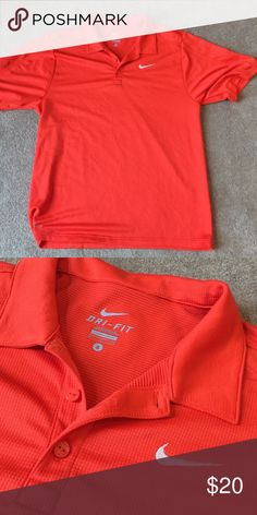 Orange textured Nike dry fit polo No stains or snags. 100% polyester Nike Shirts Polos