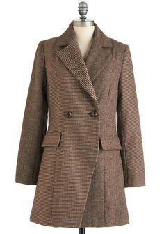 Tale of the Herringbone and Houndstooth Coat - Long, Brown, Tan / Cream, Houndstooth, Long Sleeve, Work, Menswear Inspired, Vintage Inspired