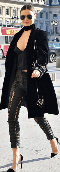 Pants – Unravel Shoes – Gianvito Rossi  Sunglasses – Oliver Peoples  Necklace – Bartoli