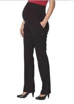 0f10889b07df8 NWT Liz Lange Maternity Over The Belly Black Straight Leg Pants Women's  Large M | eBay