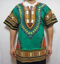 African Hippie Dashiki Women Boho Top Men Traditional Blouse Shirt Green Plus Sz #Handmade #DashikiBlouse #TopsShirtsTShirts