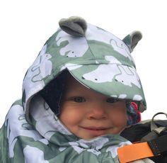 Babywearing Fleece lined Polar Bear hood with ears cut out