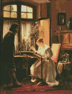 Lady Seated at Her Needlework [MUNKACSY101] - $12.35 : Heaven And Earth Designs, cross stitch, cross stitch patterns, counted cross stitch, christmas stockings, counted cross stitch chart, counted cross stitch designs, cross stitching, patterns, cross stitch art, cross stitch books, how to cross stitch, cross stitch needlework, cross stitch websites, cross stitch crafts