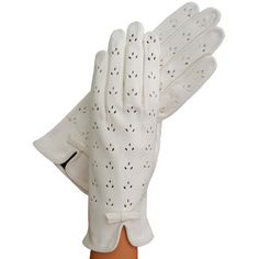 White Leather Gloves With Lily-Shaped Perforations, Unlined