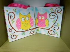 Set+of+2+Painted+Owls+sitting+on+a+branch+pink+by+STROKESofFAITH,+$30.00