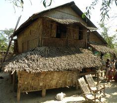 House in Chin Village up river from Mrauk-AU, Rakhine State, Myanmar