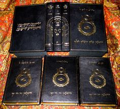 The Lord of the Rings, Custom Full Black Leather Binding, feature's Tengwar Script