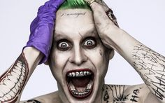 """Jared Leto is making headlines recently over his back-to-back portrayal of supervillain The Joker in two upcoming films """"Batman vs Superman: Dawn of Justice"""" and """"Suicide Squad"""" which will both hit theaters next year. Joker Make-up, Harley Quinn Et Le Joker, The Joker, Joker Actor, Baby Joker, Jared Leto Joker Tattoo, Jared Leto Joker Cosplay, Joker Tattoos, Pork"""