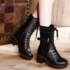 women's ankle boots real leather lace up buckle warm lined mid heel combat boots