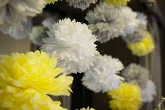 gray and yellow wedding decor, lemon centerpieces, a good affair wedding design, tissue pompoms