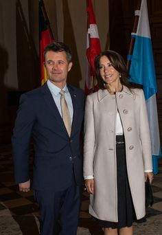 Crown Prince Frederik (L-R) and Crown Princess Mary of Denmark meet Bavarian Minister Horst Seehofer and his wife Karin at the Bavarian residence during their visit in Germany on May 20, 2015 in Munich, Germany.