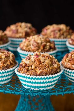 """Morning Glory Muffins with Candied Pecan Topping - one of those """"never-fail"""" recipes! And I love that they're so delicious and loaded with healthy ingredients. The topping is amazing! Muffin Recipes, Baking Recipes, Breakfast Recipes, Breakfast Ideas, Pecan Recipes, Breakfast Dishes, Brunch Ideas, Bread Recipes, Morning Glory Muffins"""