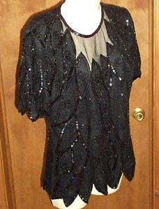 Stenay Womans P12 Black Silk Sheer Beaded Sequin Blouse Formal Cocktail Vtg Top