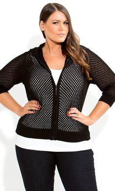 City Chic - BLACK HOODIE CARDI -  Women's plus size clothing