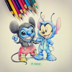 Stitch [as Mickey Mouse] & Mickey Mouse [as Stitch] (Switched Places by BirdychuArt @Facebook) #LiloAndStitch #Disney