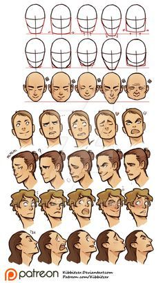 Face shapes and Facial expressions reference sheet by Kibbitzer.deviantart.com on @DeviantArt