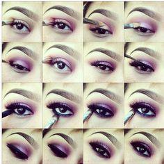 Hermoso para las que tenemos los ojos chicos  Purple Smokey Makeup Tutorials