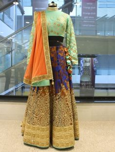 Brown Silk and Net Lehenga Choli with Handwork