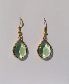 Green Bezel Set earrings Faceted Glass Drop by Windychimes on Etsy, $12.00