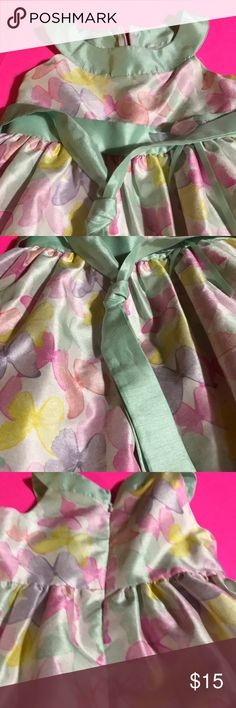 Butterfly girl's dress with tie in back Pink, purple,yellow and pink butterflies and teal tie back size 4 Dresses Formal