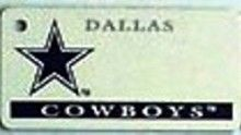 """This is an NFL Dallas Cowboys Team License Plate Key Chain or Tag. An excellent and affordable gift for an avid NFL fan! The key chain is available with engraving or without engraving. It is a standard key chain made of durable plastic and size is approximately 1.13"""" x 2.25"""" and 1/16"""" thick."""
