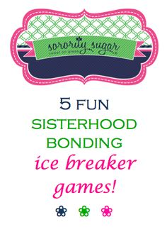 Chapters are frequently looking for ways to get closer to their sisters, create unity and ease the divisions in their sisterhood. Retreats, sisterhood socials, parties and other events are fabulous ways to have fun together and break down barriers. Take a look at these sorority sugar ice breakers and team building games to bring your chapter closer together! <3 BLOG LINK: http://sororitysugar.tumblr.com/post/85656723149/sisterhood-bonding-ice-breakers#notes