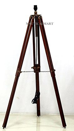 Timber Wood Tripod Lamp Base NauticalMart Collection in Floor Lamps.