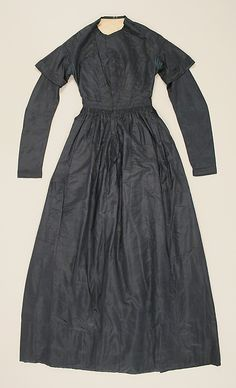 Dress  Date: 1838–41 Culture: American Medium: silk Dimensions: Length at CB: 55 in. (139.7 cm) Credit Line: Gift of Beatrice de Mauriac, etc., 1976 Accession Number: 1976.122.2