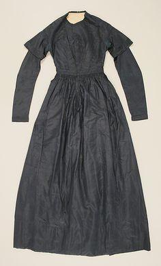 Dress  Date: 1838–41 Culture: American Medium: silk Dimensions: Length at CB: 55 in. (139.7 cm) Credit Line: Gift of Beatrice de Mauriac, etc., 1976 Accession Number: 1976.122.2