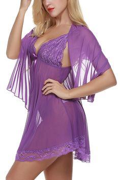 65d073f84bb Women Lingerie 3 Pieces Chemises Lace Babydoll Mini Sleepwear Set