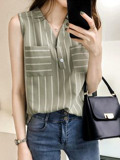 V Neck Patchwork Stripes Blouses Blouse Styles, Blouse Designs, Stripped Shirt, Neutral Outfit, Summer Blouses, Business Casual Outfits, Blazer, Shirt Blouses, Shirt Style