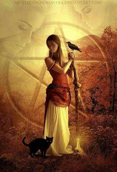 deviantart… and - mi-eterna-primavera.deviantart… Hair: -thy-dark. Tribute to the Triple Goddess Wicca Witchcraft, Magick, Samhain Halloween, Beautiful Witch, Pagan Art, Season Of The Witch, Witch Art, Mystique, Divine Feminine