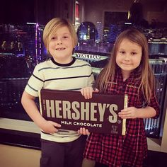 Stella Maureen McDermott & Liam Aaron McDermott from Cutest Celeb Kids on Instagram Looks like Tori Spelling's oldest children have a bit of a sweet tooth! Here they are holding a giant Hershey's chocolate bar.