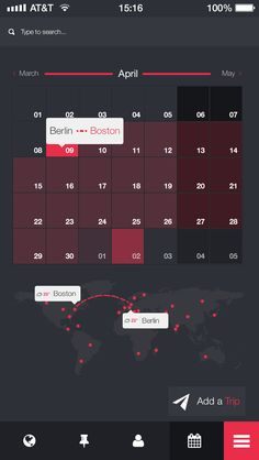 Your trip app by NIMIUS #flat #UI #calendar