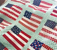 Stars and Stripes Lap Size Quilt American Flag Throw Quilt Handmade Custom Order Moda Fabrics Patriotic Quilt Navy Blue Red White Longarm Quilting, Machine Quilting, Quilting Ideas, Lap Quilts, Quilt Blocks, Denim Quilts, American Flag Quilt, Quilt Of Valor, Patriotic Quilts