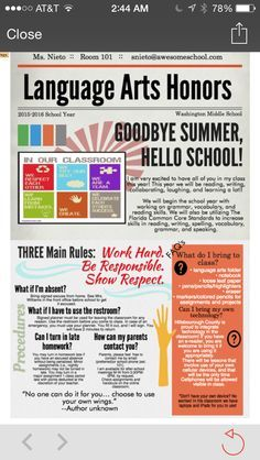 For a classroom management class I had to make a fake syllabus for an eighth… Middle School Literacy, Beginning Of School, New School Year, First Day Of School, Syllabus Template, Eighth Grade, Seventh Grade, Grade 2, Classroom Activities
