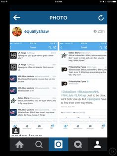 L. A. Kings, Columbus Blue Jackets, Dallas Stars and Philadelphia Flyers Twitter conversation.