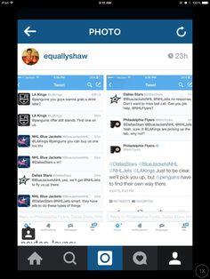 L. A. Kings, Columbus Blue Jackets, Dallas Stars and Philadelphia Flyers Twitter conversation.