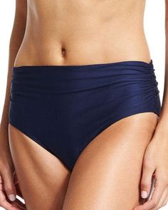Luxe by Lisa Vogel Ruched-Side Hipster Swim Bottom, Navy
