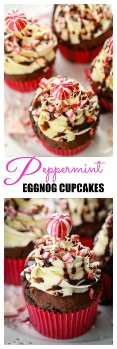 Peppermint Eggnog Cupcakes combine two favorite holiday flavors into one delicious treat!