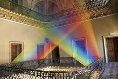 'Plexus N°19″ by Gabriel Dawe installed inside the atrium of the Villa O, in Como, Italia.
