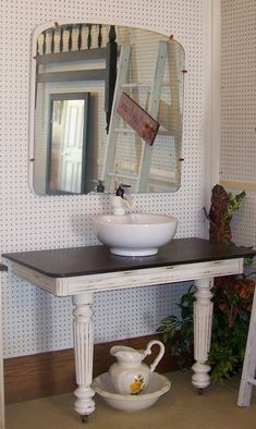 Photo Of Front View Antique Bathroom Vanity Washstand For - Antique bathroom vanity with vessel sink