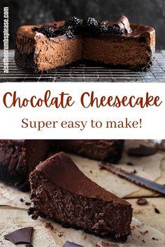 Easy Chocolate Cheesecake Recipe, Easy Chocolate Desserts, Chocolate Cheesecake Recipes, Easy Cheesecake Recipes, Cheesecake Desserts, Easy Cake Recipes, Just Desserts, Sweet Recipes, Baking Recipes