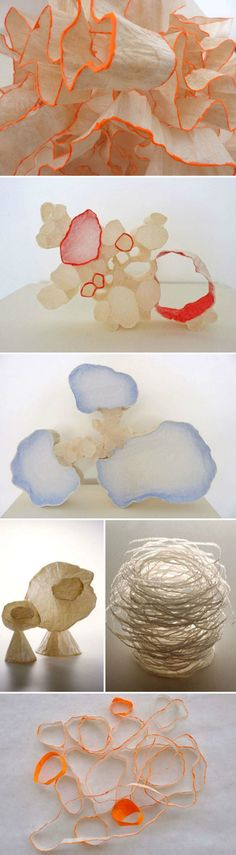 California artist  - Mary Button Durell -  creates paper sculptures using only tracing paper and wheat paste  ~