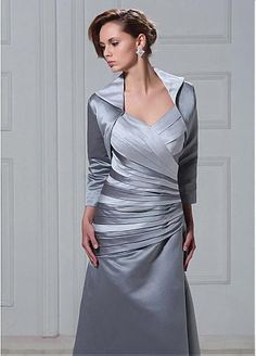 Magnificent Satin A-line V-neck Tank Sleeve Dropped Waist Ankle Length  Beaded Mother of the Bride Dress with A Jacket 21a671b30850