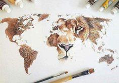 Картинка с тегом «art, lion, and drawing»