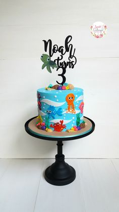 2D fondant Under The Sea theme, perfect for boys and girls!